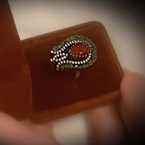 Size 7 RUBY EMERALD ART RING Solid 925 Silver/Gold
